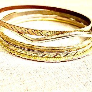 Vintage Golden Bangle Bracelet Set
